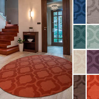 "Hand-Woven Ali Tone-on-Tone Moroccan Trellis Wool Rug (9'9"" Round)"