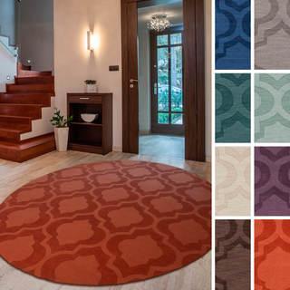 "Hand-Woven Ali Tone-on-Tone Moroccan Trellis Wool Rug (9'9"" Round)"