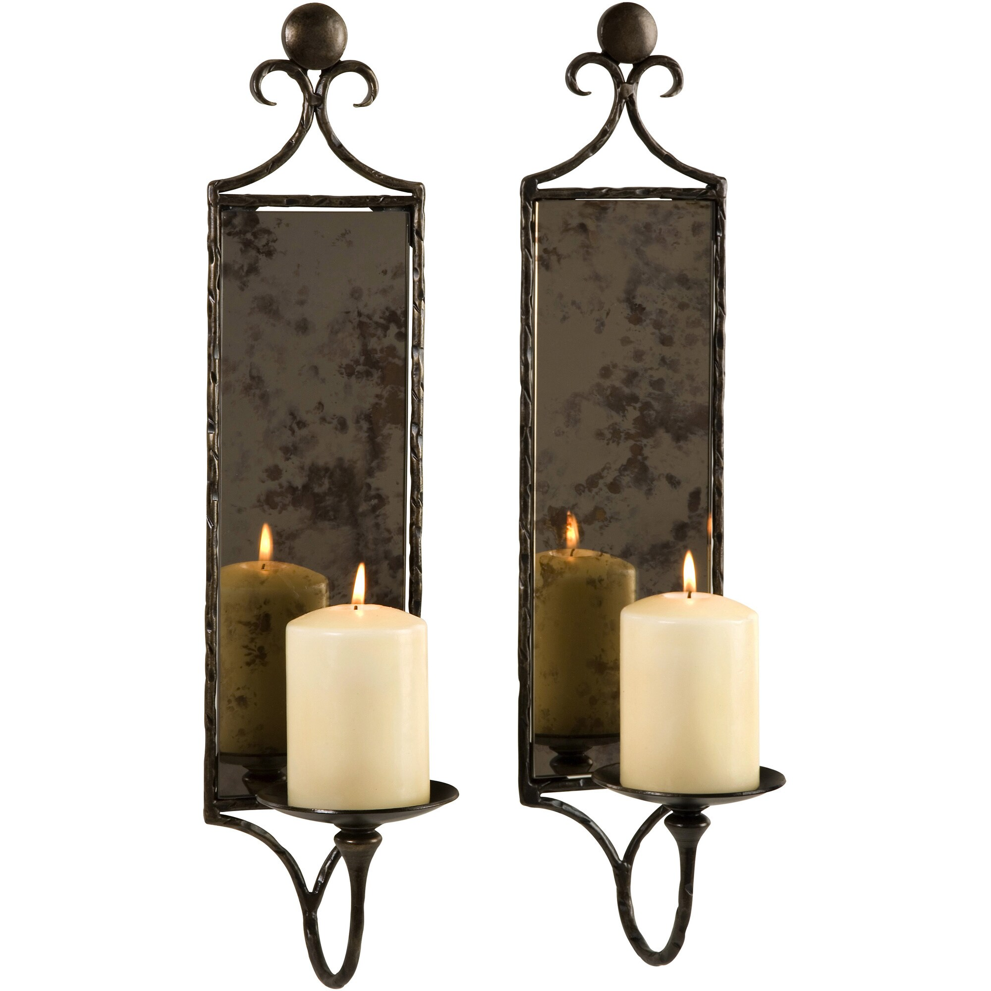 Hammered Mirror Wall Sconce Candle Set Of 2