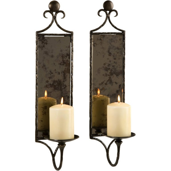 Wall Sconces Set Of 2 : Hammered Mirror Wall Sconce Candle (Set of 2) - Free Shipping Today - Overstock.com - 16718892