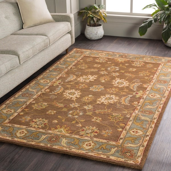 Hand-Tufted Feng Bordered Wool Rug - 2' x 3'