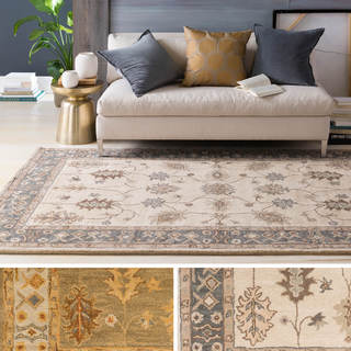 Hand-Tufted Asnee Bordered Wool Rug (4' x 6')