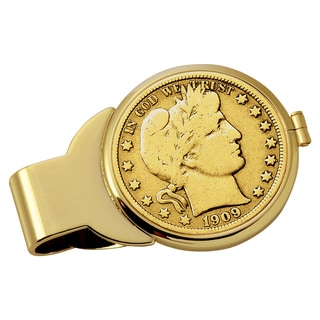 American Coin Treasures Gold-Plated Silver Barber Half Dollar Goldtone Money Clip