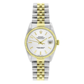 Pre-Owned Rolex Men's Datejust 16233 Two-tone White Stick Watch