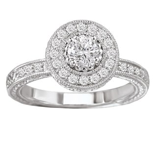 Avanti 14k White Gold 1/2ct TDW Vintage Round Halo White Diamond Engagement Ring with Filigree Detail (G-H,