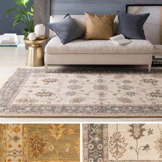 Hand-Tufted Asnee Bordered Wool Rug (7'6 x 9'6)