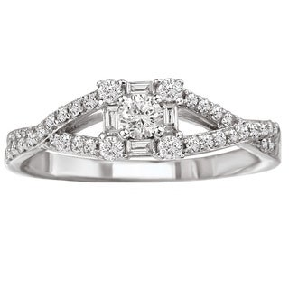 Avanti 14k White Gold 1/2ct TDW Criss Cross Split Diamond Engagement Ring (G-H, SI1-SI2)