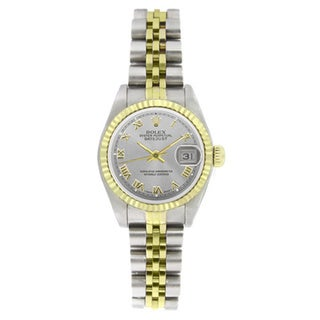 Pre-owned Rolex Women's 6917 Datejust Two-tone Silver Roman Watch