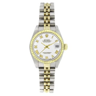Pre-owned Rolex Women's 6917 Datejust Two-tone White Roman Watch