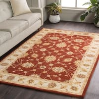 Hand-Tufted Isamu Bordered Wool Area Rug (6' Round)