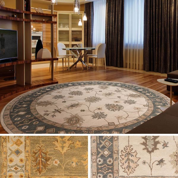 Hand Tufted Asnee Bordered Wool Rug 8 Round Free