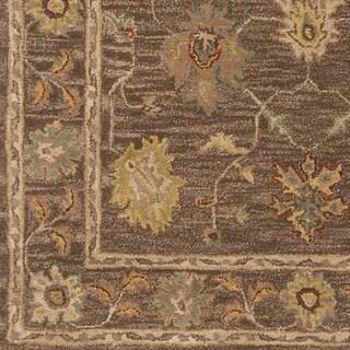 Hand-Tufted Akio Bordered Wool Rug (8' Round)
