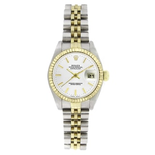 Pre-owned Rolex Women's 6917 Datejust Two-tone White Stick Watch