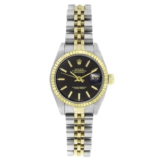 Pre-owned Rolex Women's 6917 Datejust Two-tone Black Tapestry Stick Watch