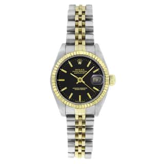 Pre-Owned Rolex Women's 6917 Datejust Two-tone Black DIal Stick Watch|https://ak1.ostkcdn.com/images/products/9540513/P16719230.jpg?impolicy=medium