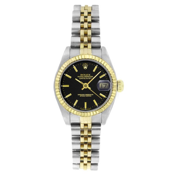 Pre-Owned Rolex Women's 6917 Datejust Two-tone Black DIal Stick Watch - Silver