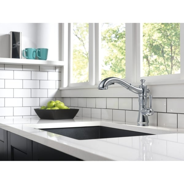 Shop Delta Cassidy Single Handle Pull Out Kitchen Faucet 4197 Ar Dst Arctic Stainless Overstock 9540516