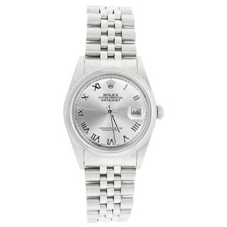 Pre-owned Rolex Men's 16200 Datejust Stainless Steel Jubilee Bracelet Silver Roman Watch