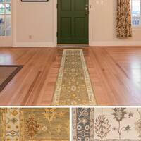Hand-Tufted Asnee Bordered Wool Rug - 2'3 x 8'