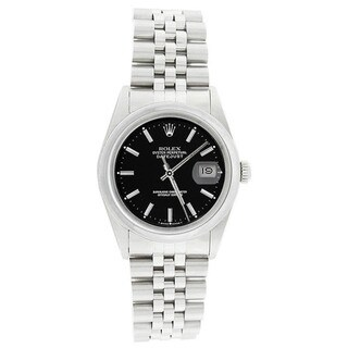 Pre-owned Rolex Men's 16200 Datejust Stainless Steel Jubilee Bracelet Black Stick Watch