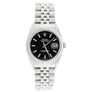 Pre-owned Rolex Men's 16200 Datejust Stainless Steel Jubilee Bracelet Black Stick Watch