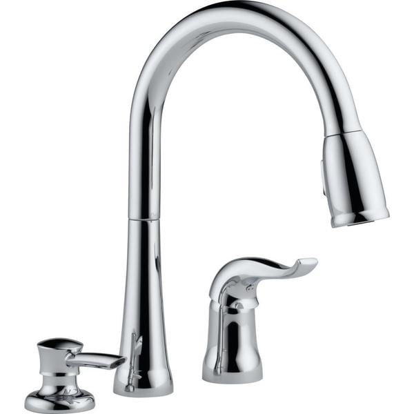 shop delta kate single handle pull down kitchen faucet with soap