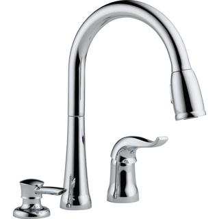Delta Single Handle Pull-down Chrome Kitchen Faucet with Soap Dispenser