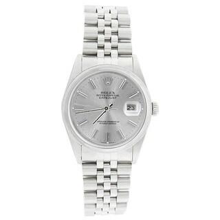 Pre-owned Rolex Men's 16200 Datejust Stainless Steel Jubilee Bracelet Silver Stick Watch