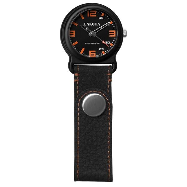 Men's Dakota Black/Orange Leather Snap Fob Watch