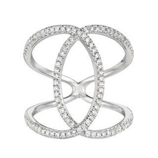 14k White Gold 2/5ct White Diamond Double C Ring