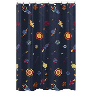 Sweet Jojo Galactic Planets Rocket Ship Shower Curtain