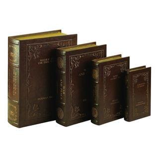 Wood Leather Book Box Storage
