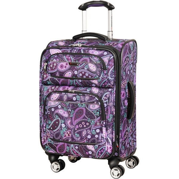 Ricardo Beverly Hills Mar Vista Light Purple Paisley 20-inch Carry On Spinner Upright Suitcase