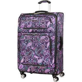 Ricardo Beverly Hills Mar Vista Purple Paisley 24-inch Expandable Spinner Upright Suitcase