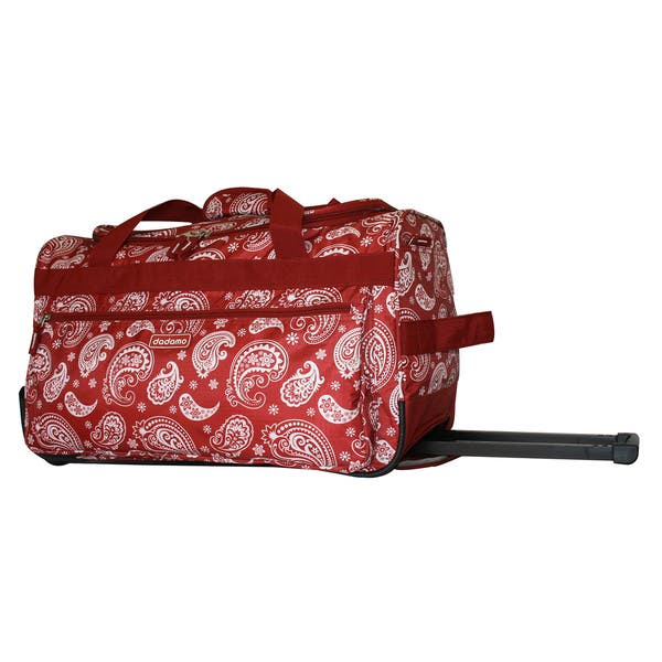 3b3266e05d Dadamo 21-inch Burgundy Paisley 4-pocket Rolling Carry On Upright Duffel Bag  ...