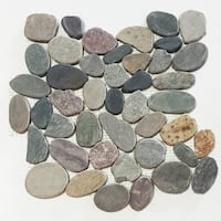 Mountain Grey Flat Pebble Mesh Tile (Pack of 5)