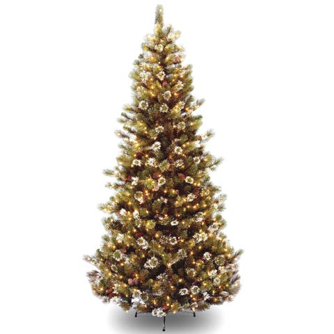7.5-foot Glittery Pine Hinged Tree with 500 Clear Lights