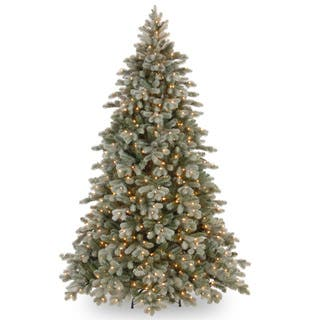 75 foot feel real frosted colorado spruce hinged treehttpsak1 - Metal Christmas Tree