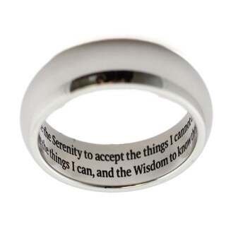 Serenity Prayer Engraved Stainless Steel Ring