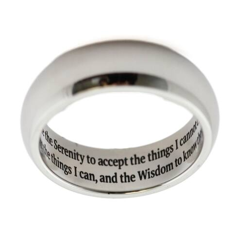 Serenity Prayer Engraved Stainless Steel Ring
