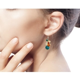 Handmade Carnelian Citrine 'Blue World' Cluster Earrings (Thailand)
