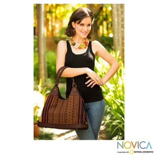 Handmade Leather Cotton 'Exotic River' Hobo Bag (Thailand)