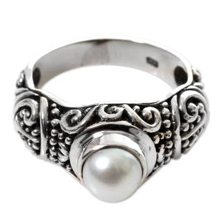 Handmade Sterling Silver Inspiration Pearl Ring 7 Mm Indonesia