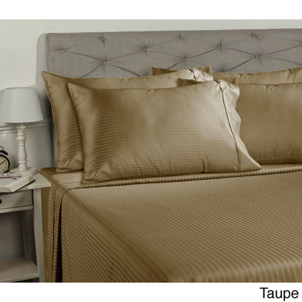 Duvet Set+Extra Deep Pocket Fitted Sheet Gray Stripe All UK Sizes 1000 TC Cotton