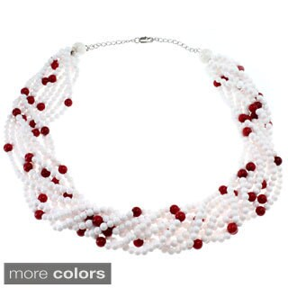 Michael Valitutti One-of-a-kind Palladium Silver White and Salmon Coral or Aquamarine and White Coral Necklace