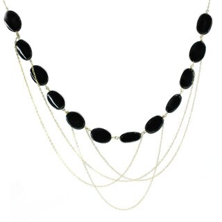 Michael Valitutti Sterling Silver Black Onyx Chain Necklace