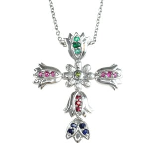 Michael Valitutti Sterling Multi Gemstone 'Cross' Pendant