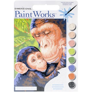 "Paint Works Paint By Number Kit 9""X12""-Chimp & Baby"