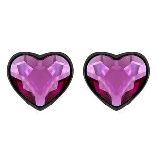Black Rhodium Plated Pink Crystal Heart Earrings