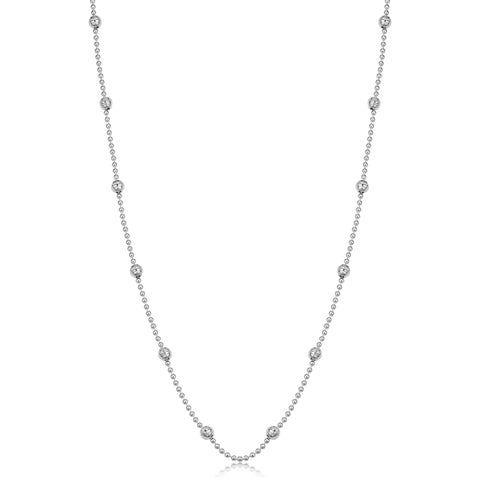 Fremada Sterling Silver Bead and Diamond-cut Ball Sation Necklace (20 - 36 inches)